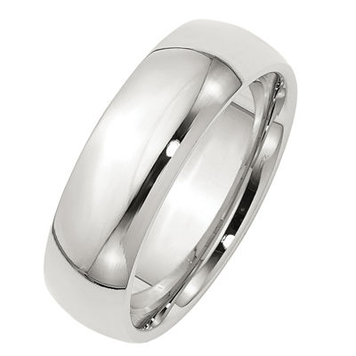 Womens 7mm Sterling Silver Band