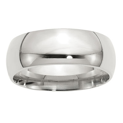 Mens 8MM Sterling Silver Wedding Band