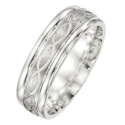 Mens 7MM Sterling Silver Wedding Band