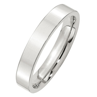 Womens 4mm Sterling Silver Band