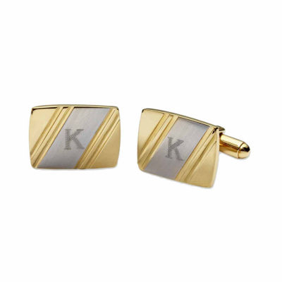 Personalized Two-Tone Facet-Cut Cuff Links