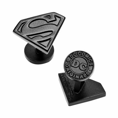 Licensed Satin Black Superman Shield Cufflinks