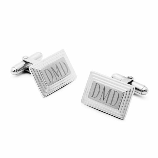 Engravable Stair Rectangular Cufflinks
