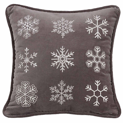 Hiend Accents Whistler Snowflake Square Throw Pillow