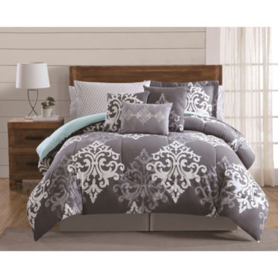Style 212 Textured Damask 12-pc. Damask + Scroll Easy Care Comforter Set