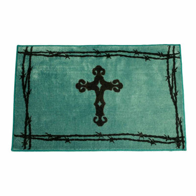 Hiend Accents Turquoise Cross Rug Bath Rug