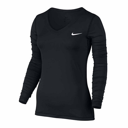 Nike Long Sleeve V Neck T-Shirt-Womens