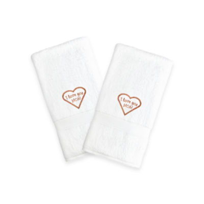 "Linum Home I Love You Mom"" Embroidered White Hand Towels - Melange (Set Of 2)"