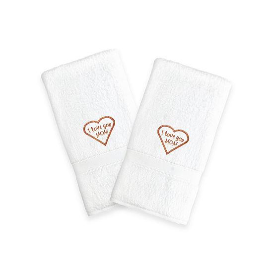 Linum Home I Love You Mom Embroidered White Hand Towels Melange Set Of 2