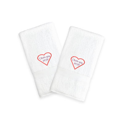 "Linum Home I Love You Mom"" Embroidered White Hand Towels - Pink (Set Of 2)"