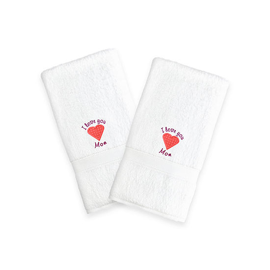 """Linum Home I Love You Mom"""" Embroidered White Hand Towels - Pink Heart (Set Of 2)"""""""