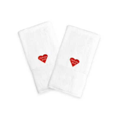 "Linum Home I Love You Mom"" Embroidered White Hand Towels - Red Heart (Set Of 2)"""