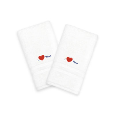 """Linum Home I Love You"""" Embroidered White Hand Towels - Navy (Set Of 2)"""""""