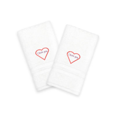 "Linum Home I Love You"" Embroidered White Hand Towels - Pink (Set Of 2)"""