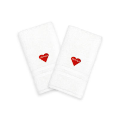 """Linum Home I Love You"""" Embroidered White Hand Towels - Red Heart (Set Of 2)"""""""