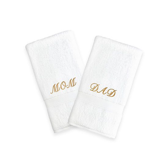 """Linum Home Mom & Dad"""" White Hand Towels With Color Gold Embroidery (Set Of 2)"""""""