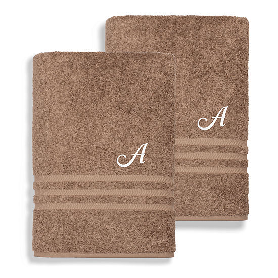 Linum Home Denzi Monogrammed Bath Towels (Set Of 2)