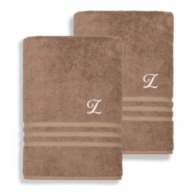 Linum Home Denzi Monogrammed Bath Towels (Set Of 2)