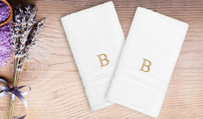Linum Home Denzi Hand Towels With Single Letter Gold Block Monogram (Set Of 2)