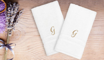 Linum Home Denzi Hand Towels With Single Letter Gold Script Monogram (Set Of 2)
