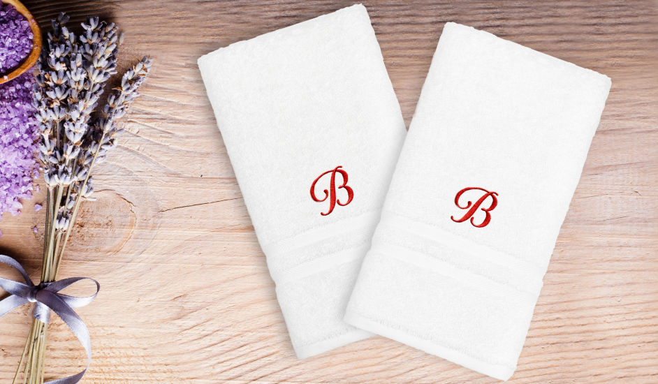 Linum Home Denzi Hand Towels With Single Letter Red Script Monogram (Set Of 2)