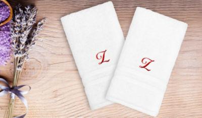 Linum Home Denzi Hand Towels With Single Letter Red Script Monogram (Set Of 2)
