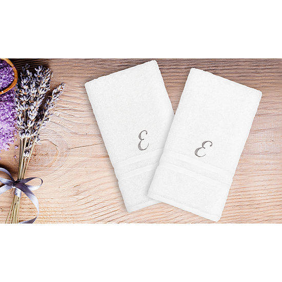 Linum Home Denzi Hand Towels With Single Letter Silver ScriptMonogram (Set Of 2)