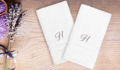 Linum Home Denzi Hand Towels With Single Letter Silver ScriptMonogram (Set Of 2)