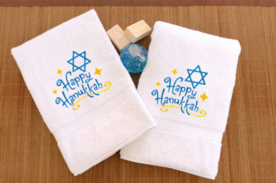 Linum Home Embroidered Hand Towels With Happy Hanukkah (Set Of 2)