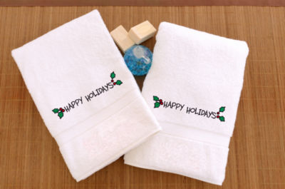 Linum Home Embroidered Hand Towels With Happy Holidays Ornament (Set Of 2)