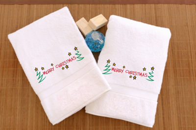 Linum Home Embroidered Hand Towels With Merry Christmas (SetOf 2)