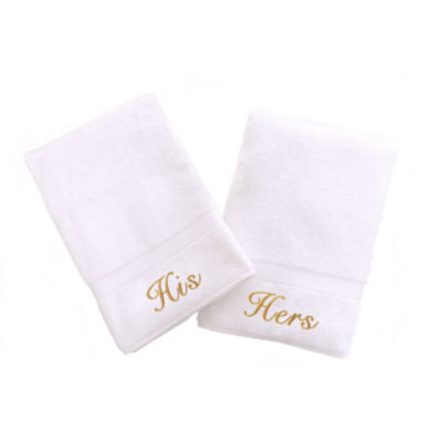 Linum Home Embroidered His & Hers Hand Towels (SetOf 2)
