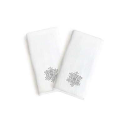 Linum Home Embroidered Luxury 100% Turkish CottonHand Towels- Grey Snow Flake (Set Of 2)