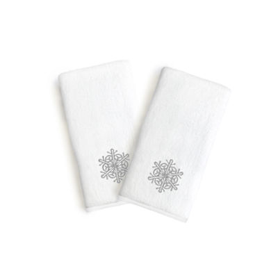 Linum Home Embroidered Luxury 100% Turkish Cotton Hand Towels- Grey Snow Flake (Set Of 2)