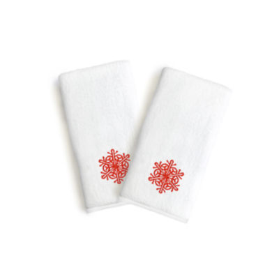 Linum Home Embroidered Luxury 100% Turkish CottonHand Towels- Red Snow Flake (Set Of 2)