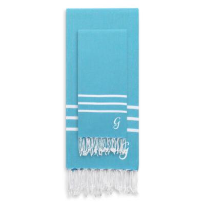 Linum Home Textiles Alara  Personalized Turkish Pestemal Beach Towel Set