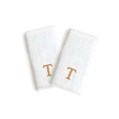 Linum Home Monogrammed Luxury 100% Turkish Cotton Novelty Hand Towels (Set Of 2)