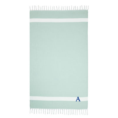 Linum Home Personalized Soft Aqua Diamond Pestemal