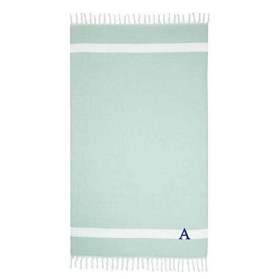 Linum Home Personalized Soft Aqua Diamond Pestemal