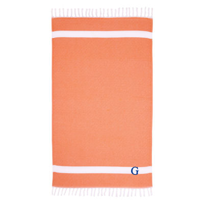 Linum Home Personalized Orange Diamond Pestemal