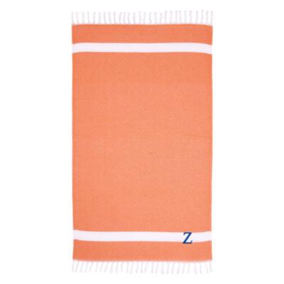 Linum Home Personalized Orange Diamond Pestemal
