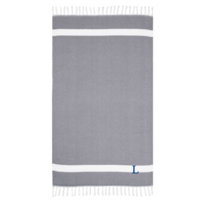 Linum Home Personalized Grey Diamond Pestemal