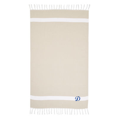 Linum Home Personalized Beige Diamond Pestemal - Script