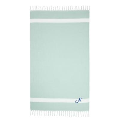 Linum Home Personalized Soft Aqua Diamond Pestemal- Script
