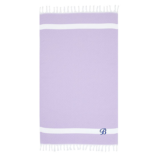 Linum Home Personalized Lilac Diamond Pestemal - Script