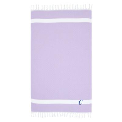 Linum Home Personalized Lilac Diamond Pestemal - Script