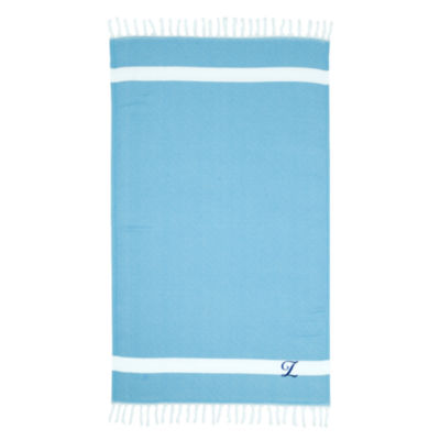 Linum Home Personalized Turquoise Diamond Pestemal- Script