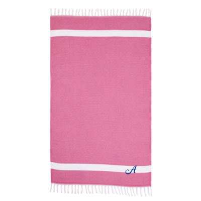 Linum Home Personalized Pink Diamond Pestemal - Script