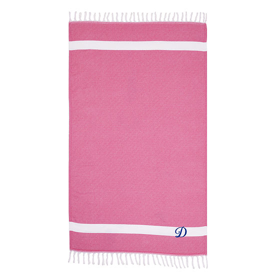Linum Home Personalized Pink Diamond Pestemal - Script