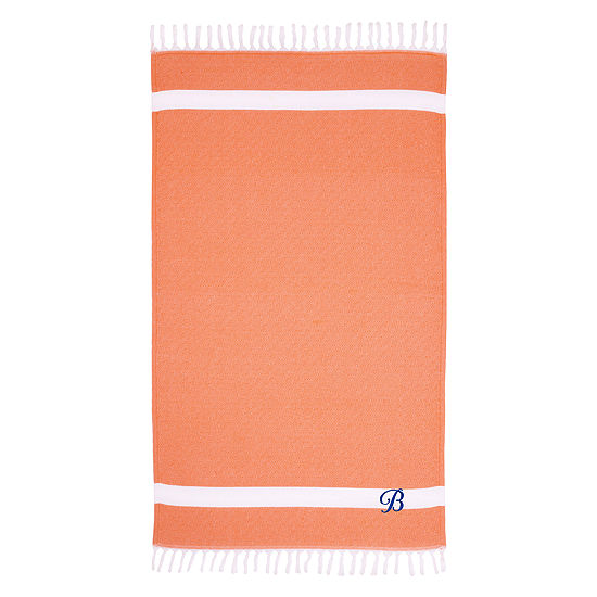 Linum Home Personalized Orange Diamond Pestemal -Script